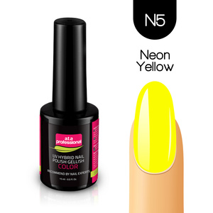 Lakier Hybrydowy UV&LED COLOR a.t.a professional nr N5 15 ml - NEON YELLOW