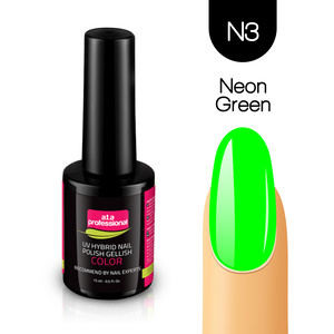 Lakier Hybrydowy UV&LED COLOR a.t.a professional nr N3 15 ml - NEON GREEN